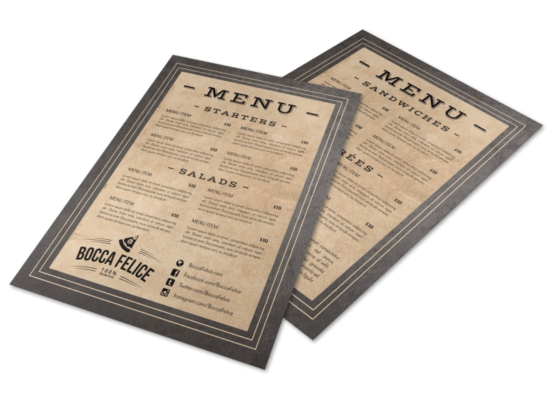Rustic Restaurant Menu Template Preview 4