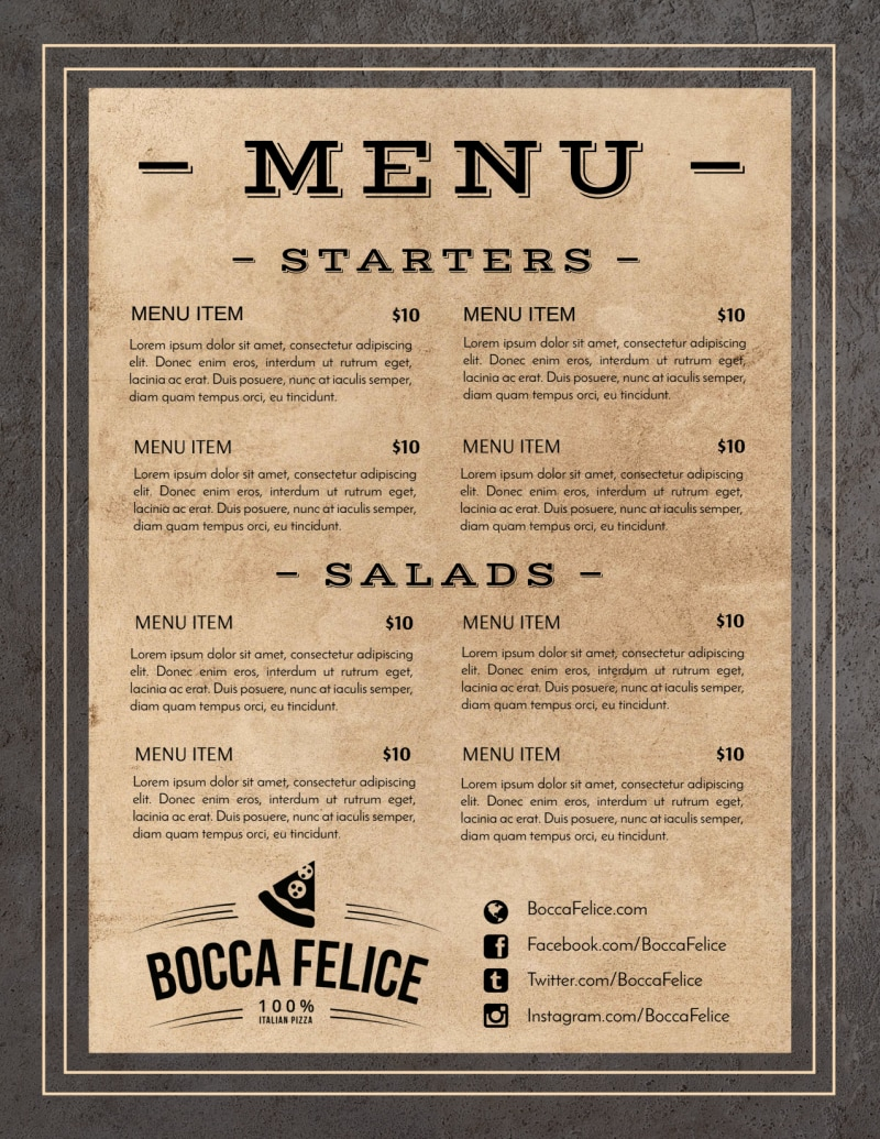 Rustic Restaurant Menu Template Preview 2
