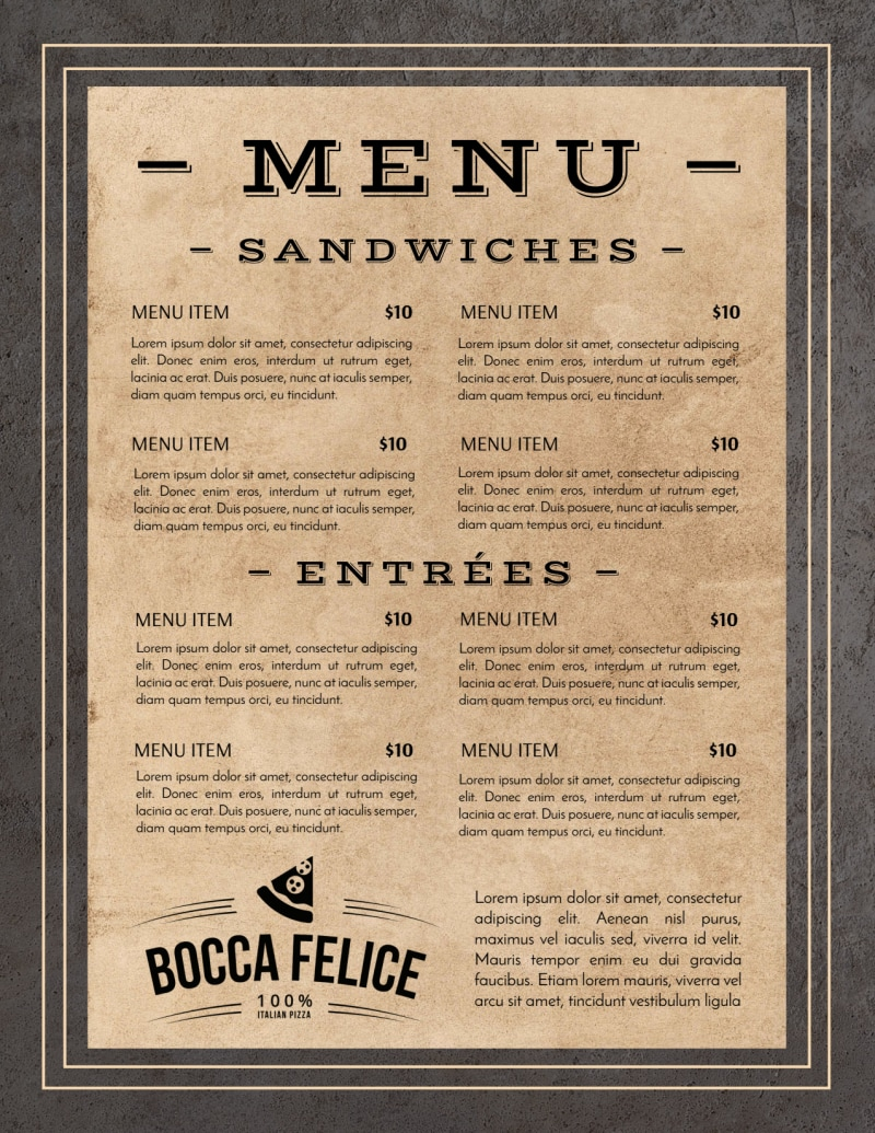 Rustic Restaurant Menu Template Preview 3
