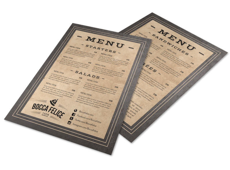 Rustic Restaurant Menu Template Preview 1