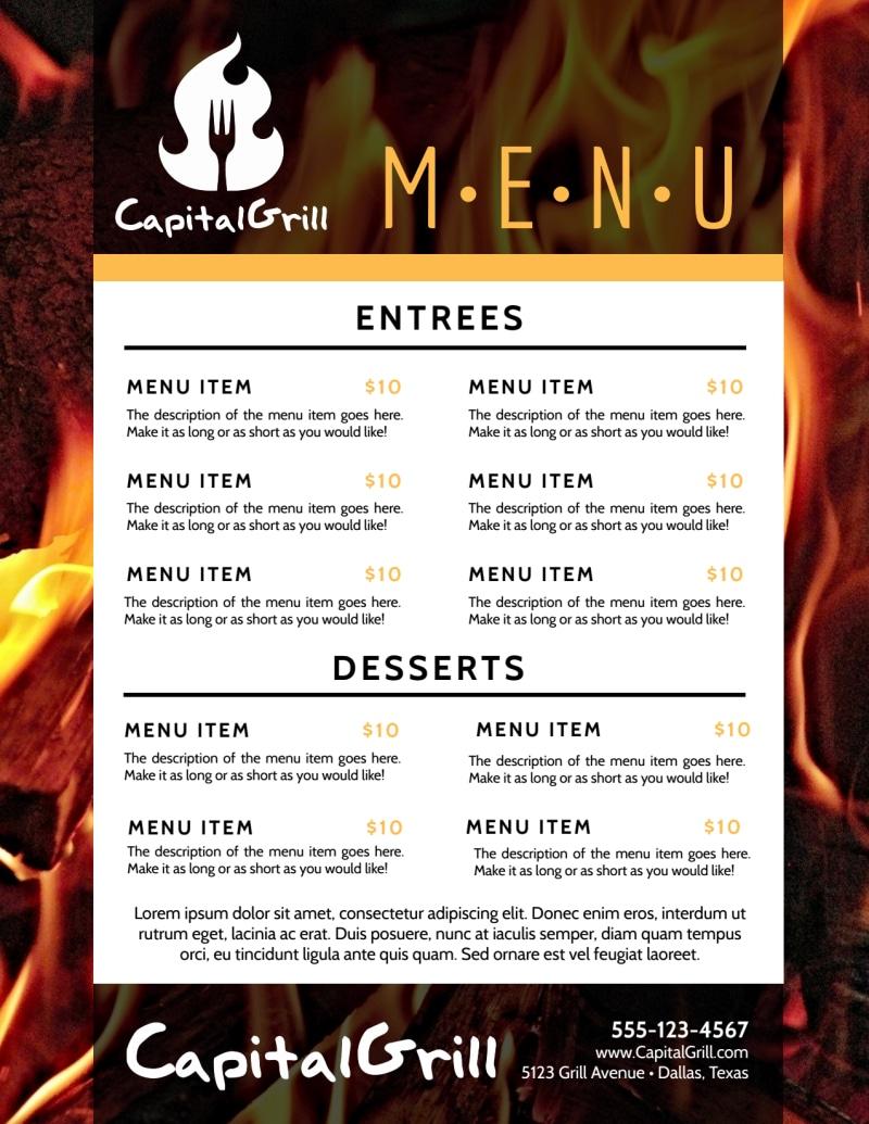 Fire Restaurant Menu Template Preview 3