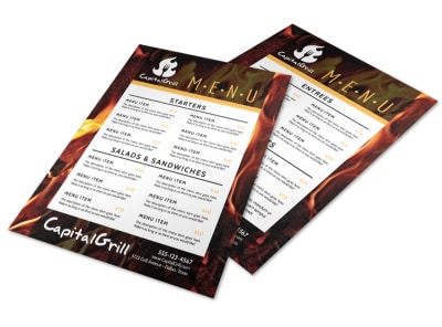 Fire Restaurant Menu Template