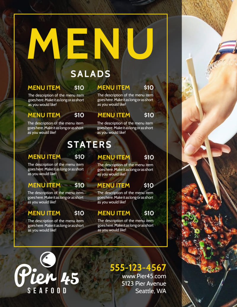 Stylish Restaurant Menu Template Preview 2