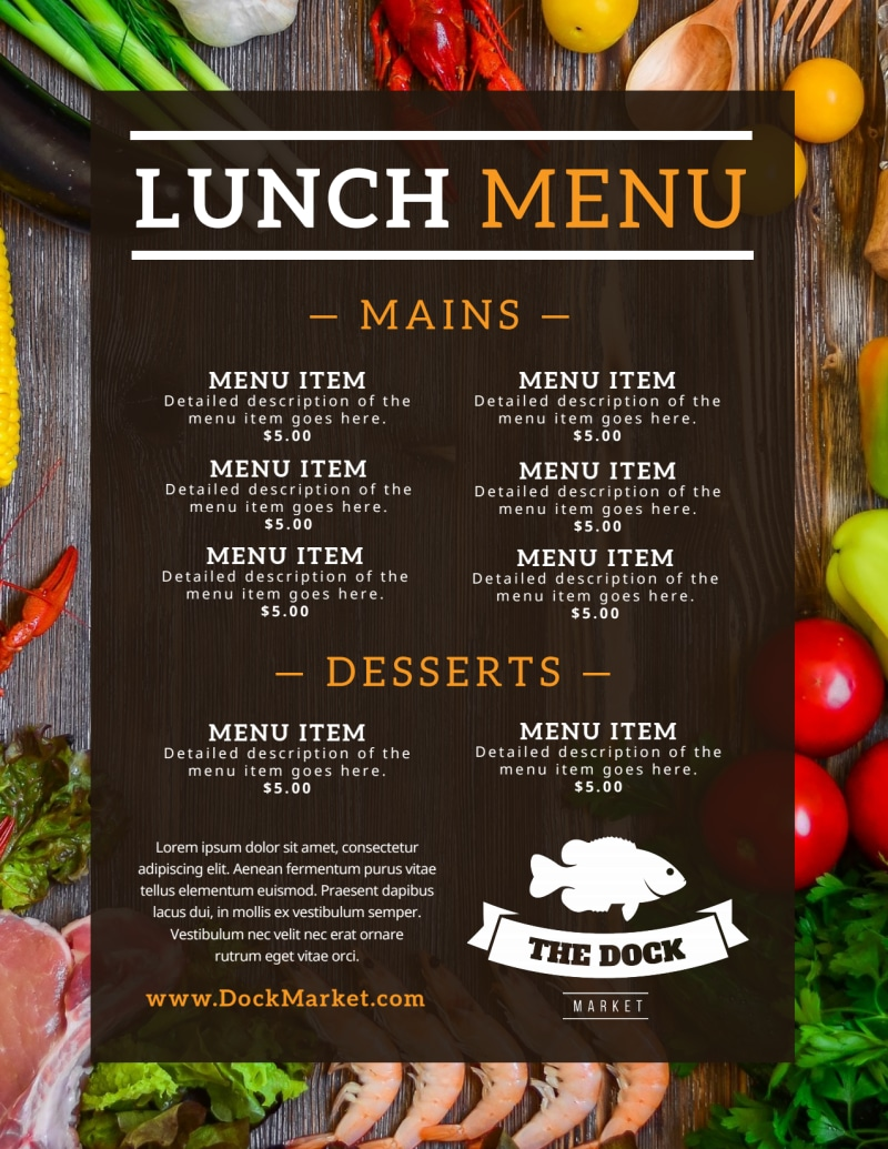 Fresh Restaurant Menu Template Preview 3