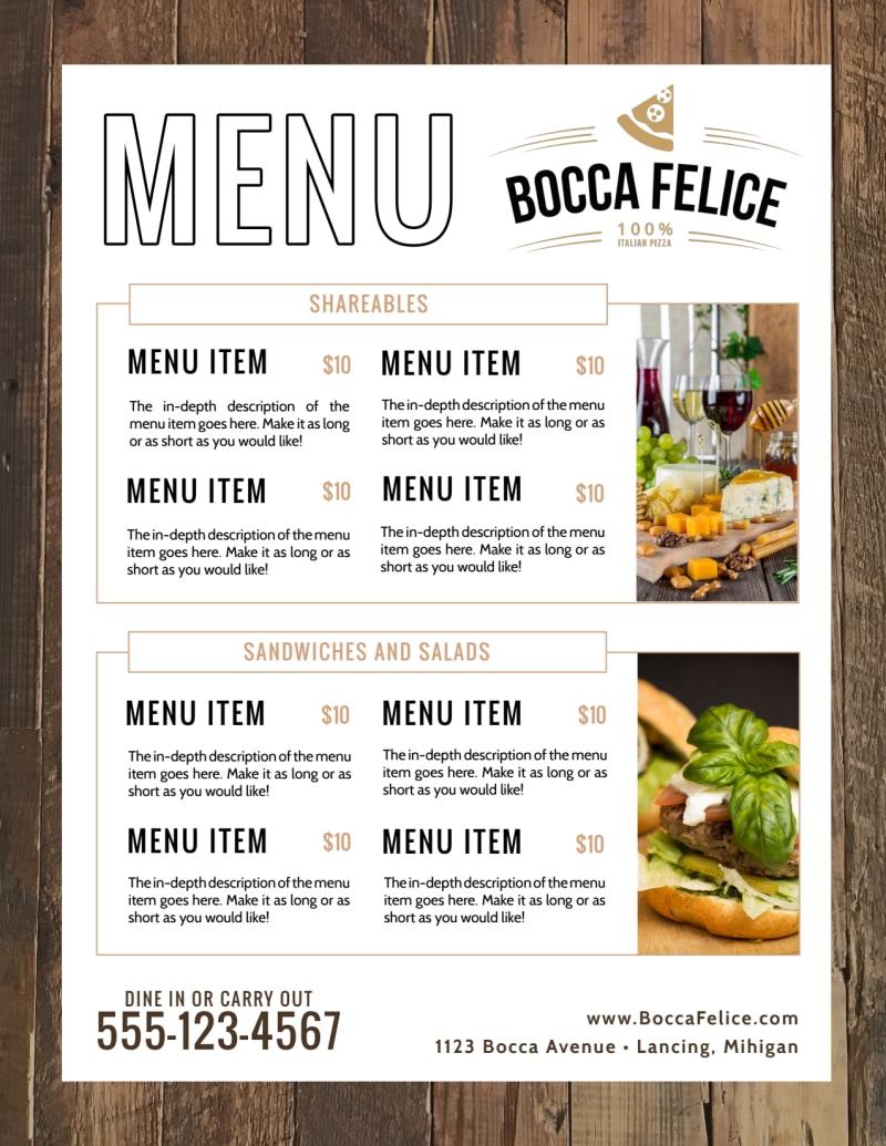 Italian Dinner Menu Template Preview 2