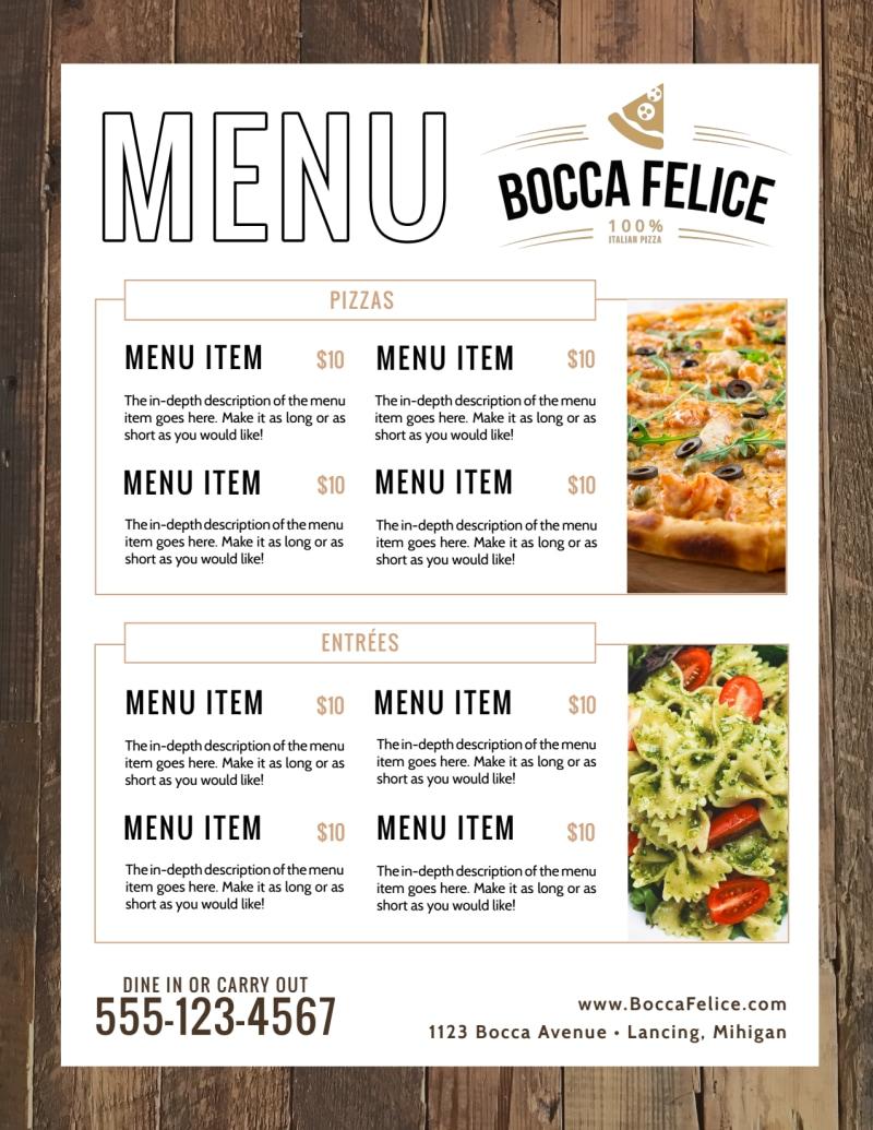 Italian Dinner Menu Template Preview 3