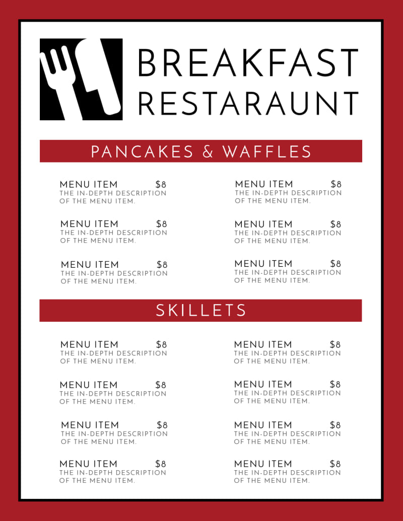 Restaurant Breakfast Menu Template Preview 2