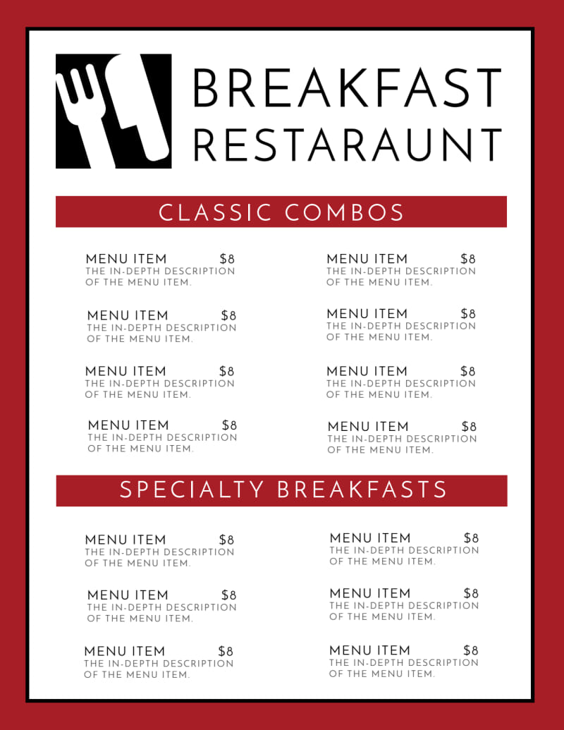 Restaurant Breakfast Menu Template Preview 3