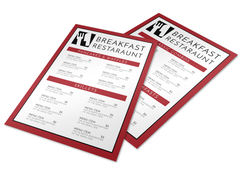 Restaurant Breakfast Menu Template Preview 1