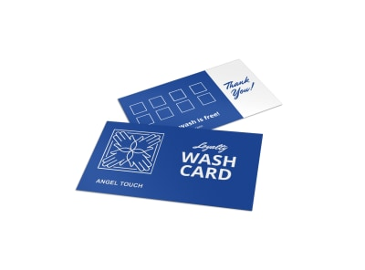 Blue Car Wash Loyalty Card Template preview