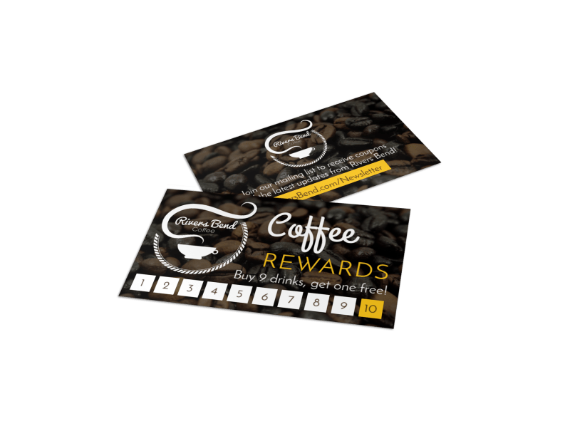 Coffee Rewards Punch Card Template Preview 1