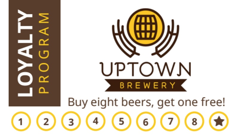 Brewery Loyalty Punch Card Template Preview 2
