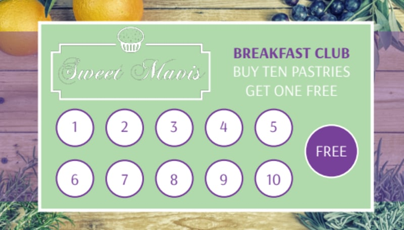 Pastry Shop Loyalty Punch Card Template Preview 2