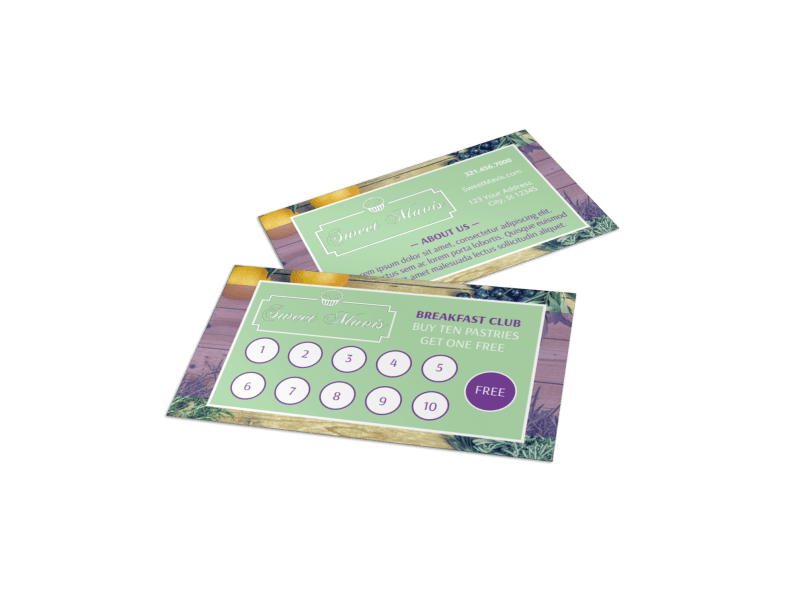 Pastry Shop Loyalty Punch Card Template Preview 1