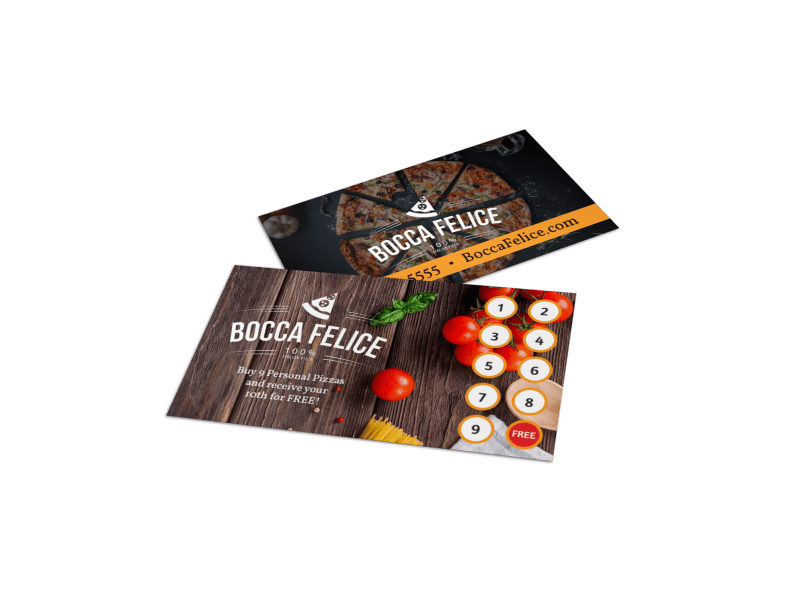 Italian Restaurant Loyalty Punch Card Template Preview 1