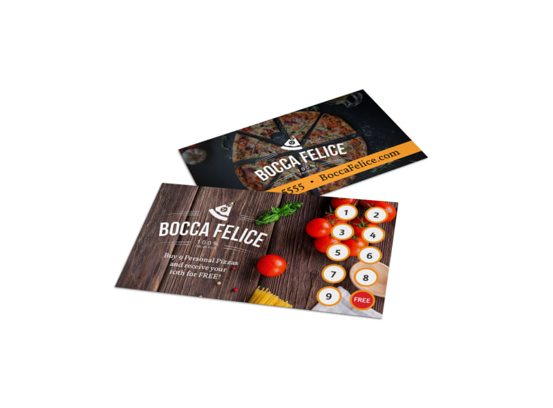 Italian Restaurant Loyalty Punch Card Template Preview 4