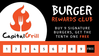 Burger Restaurant Loyalty Punch Card Template Preview 1