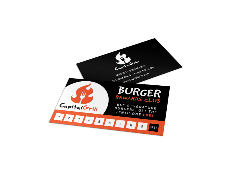 Burger Restaurant Loyalty Punch Card Template