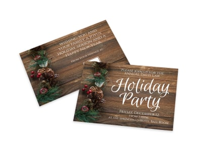 Holiday Party Invitation Card Template preview