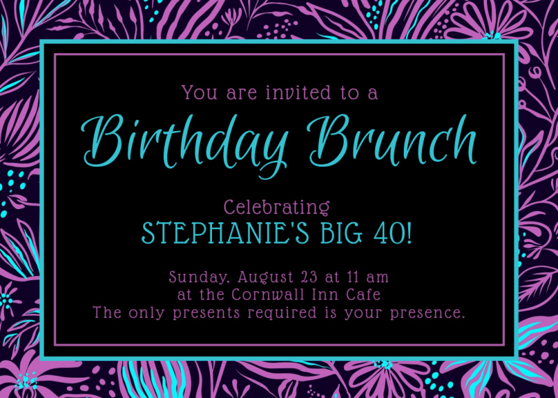 Birthday Brunch Invitation Card Template Preview 2