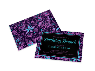 Birthday Brunch Invitation Card Template preview