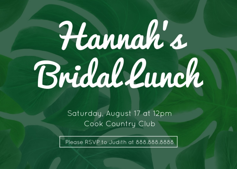 Bridal Lunch Invite Card Template Preview 2