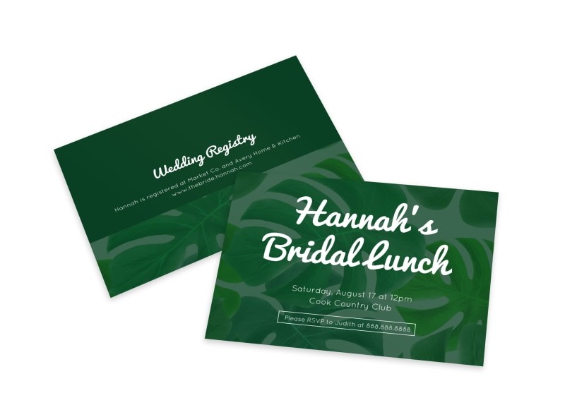 Bridal Lunch Invite Card Template Preview 4