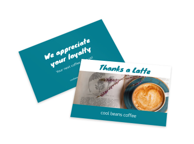 Thanks A Latte Card Template preview
