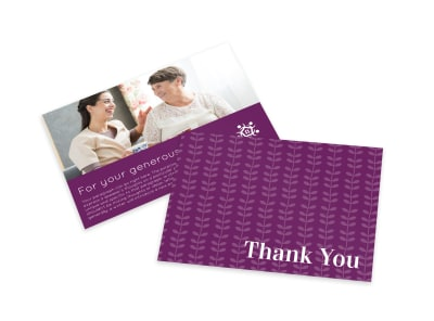 Purple Thank You Card Template preview