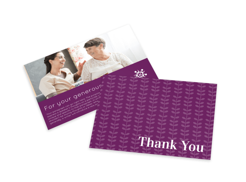 Purple Thank You Card Template Preview 1