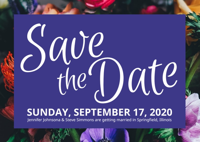 Floral Save The Date Card Template Preview 2