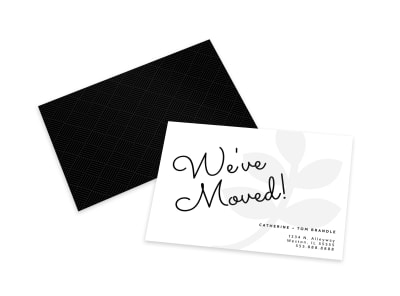 Black & White We've Moved Card Template preview