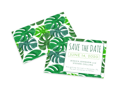 Green Save The Date Card Template preview
