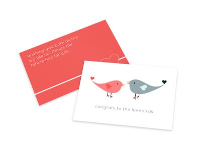 Wedding Lovebirds Card Template preview