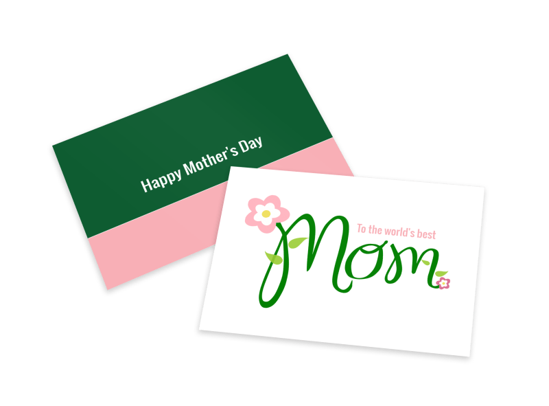 Mother's Day Green Card Template Preview 1