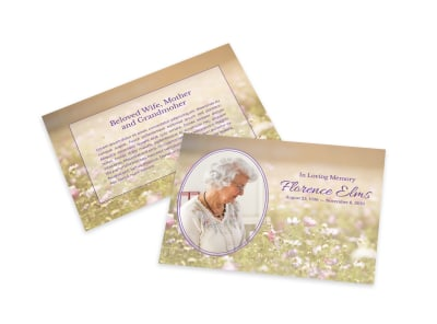 Floral Loving Memory Card Template preview