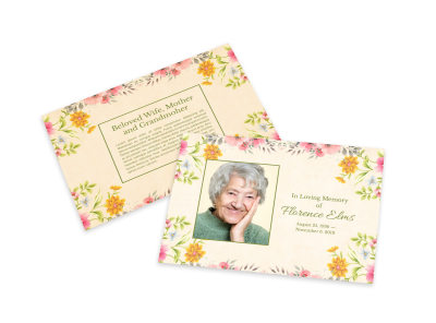 Loving Memory Flower Card Template preview