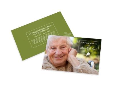 Green Memorial Card Template preview