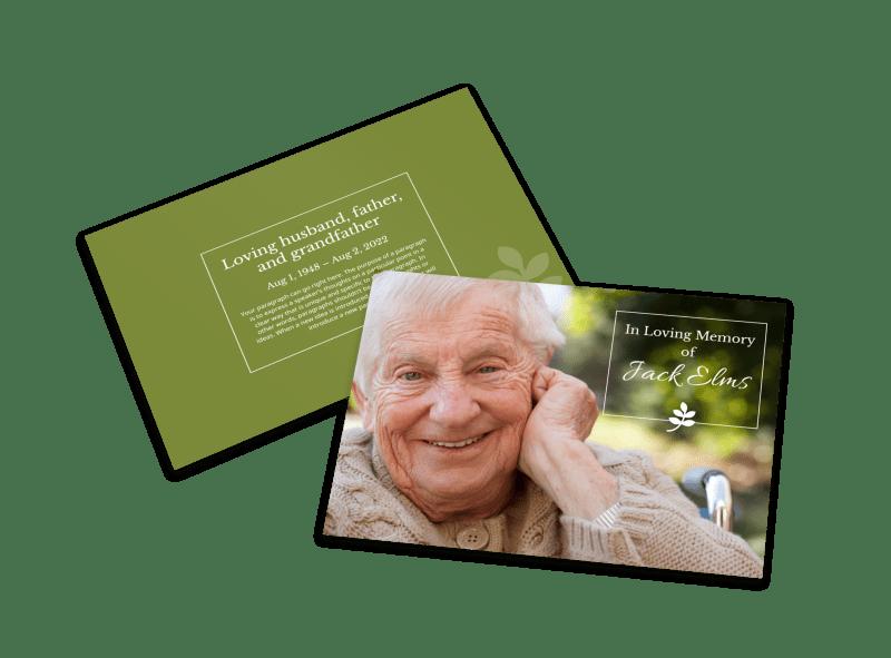 Green Memorial Card Template Preview 1
