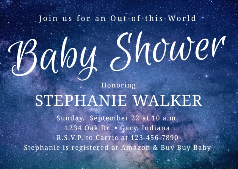Baby Shower Galaxy Card Template Preview 2