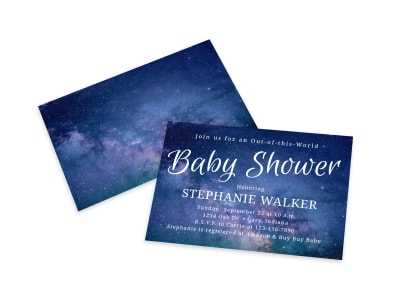 Baby Shower Galaxy Card Template preview