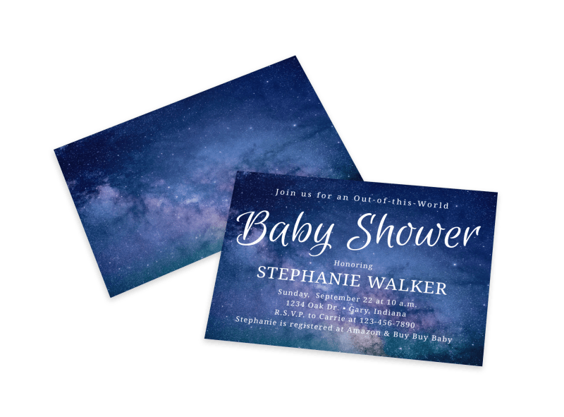 Baby Shower Galaxy Card Template Preview 1