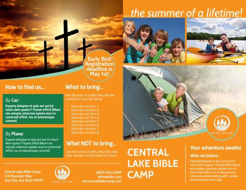 Church Camp Lake Bi-Fold Brochure Template Preview 2