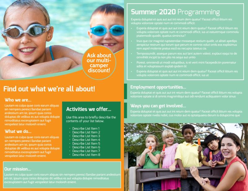 Church Camp Lake Bi-Fold Brochure Template Preview 3