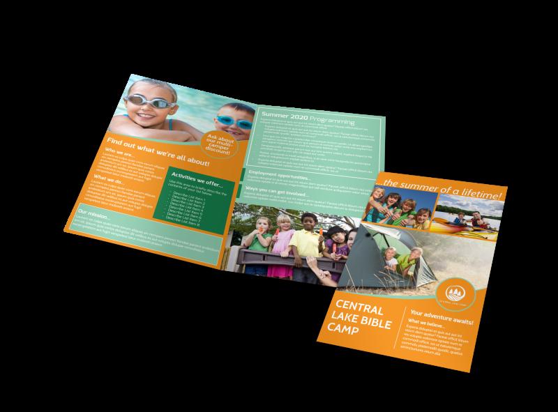 Church Camp Lake Bi-Fold Brochure Template Preview 1