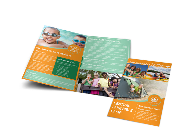 Church Camp Lake Bi-Fold Brochure Template Preview 4