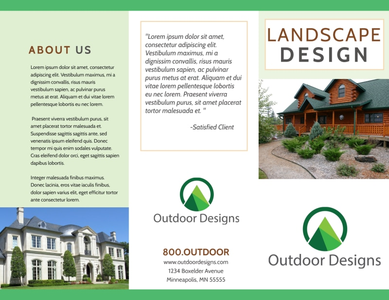 Landscaping Outdoor Design Tri-Fold Brochure Template Preview 2