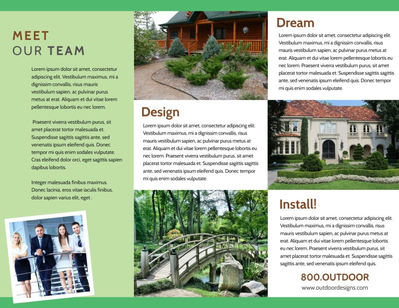 Landscaping Outdoor Design Tri-Fold Brochure Template Preview 3