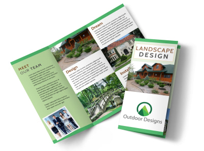 Landscaping Outdoor Design Tri-Fold Brochure Template preview