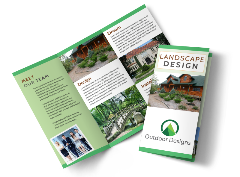 Landscaping Outdoor Design Tri-Fold Brochure Template Preview 1